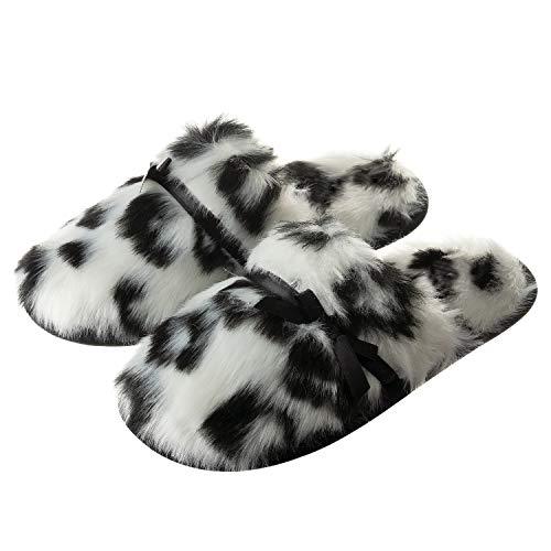 Tofern dames/meisjes slippers pantoffels luipaard geheugenschuim TPR zool antislip knuffelig slaapkamer woonkamer kantoor winter