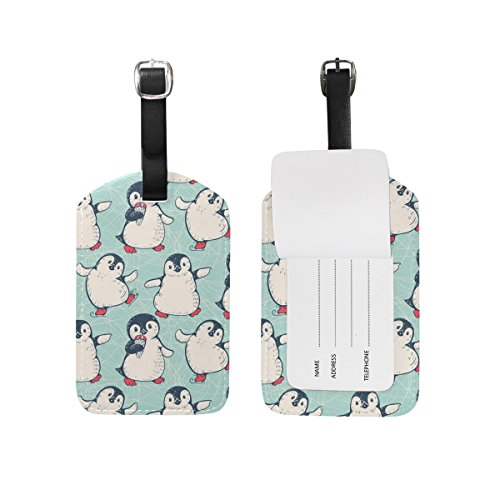 My Daily Cute Skating Penguin Luggage Tag PU Leather Bag Tag Travel Suitcases ID Identifier Baggage Label