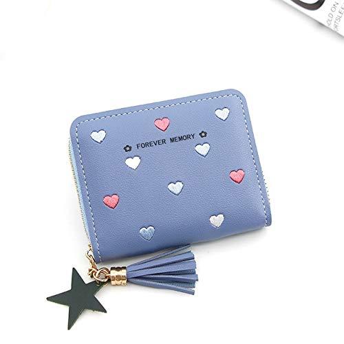 Heliansheng Candy color heart shaped print elegant ladies short zipper wallet tassel star pendant-Blue-D263