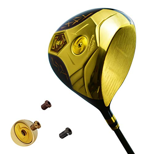 wazaki Japan 14K Gold Finish Cyclone III High COR Close Face Draw Titanium Driver Golf Club+Headcover (10.5 Degree Loft,Regular Flex,Pro Grafiet Shaft,Right Handed,500cc onbevestigbare grootte)