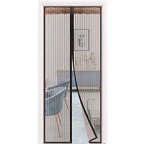 Puerta de malla, puerta de malla magnética, malla de malla para puerta Puerta de balcón Sala de estar Puerta de patio Pegado fácil de instalar sin perforación 120 & times; 205cm (47 & times; 81inch)