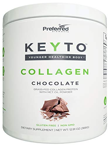 Keto Collagen Protein Powder with MCT Oil – Keto and Paleo Friendly Pure Grass Fed Pasture Raised Hydrolyzed Collagen Peptides – Fits Low Carb Diet and Keto Snacks – Keyto Chocolate Flavor