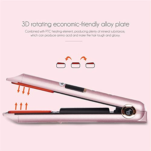 Fer à lisser de charge USB Cheveux Bigoudi Double usage Professionnel Sans fil Chauffage rapide Coiffure Fer plat avec écran LED