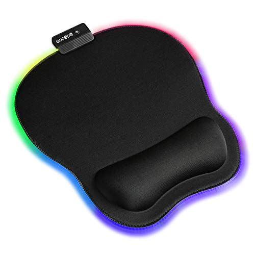 Qudodo RGB Mouse Pad with Wrist Support,11Types RGB Mode,Static,Breathing Cycle,Marquee Effect,Memory Foam Wrist Support Pain Relief,Ergonomic Mousepad for Computer,Laptop,Mac,Gaming,Office (Black)