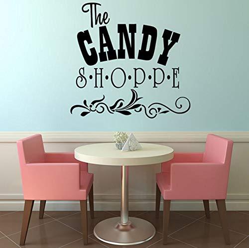 Dalxsh Die Süßigkeiten Shoppe DIY Dekorative Kunst Wörter VinylWandaufkleberMit BlumenmusterWohnkultur 45x44 cm