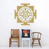 Estilo de calcomanía de arte de Sri Yantra creativo abstracto simétrico...