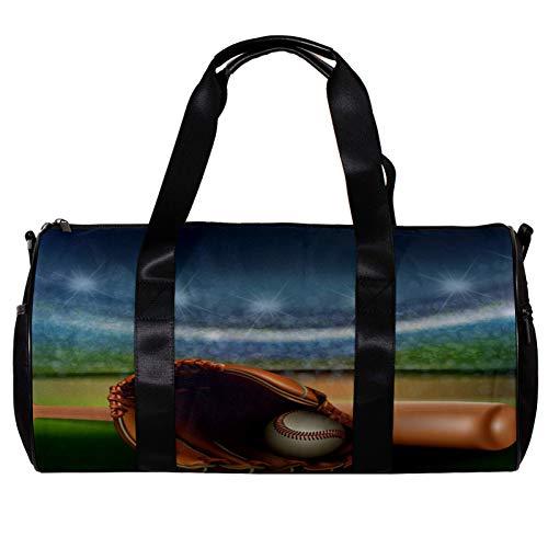 Bolsa de deporte redonda con correa de hombro desmontable, pelota de béisbol y bate en el campo, bolsa de entrenamiento para mujeres y hombres