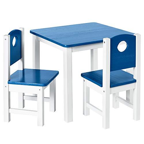 DILUMA Kindersitzgruppe 3-TLG - Kindertisch mit 2 Stühlen in Blau Weiß - Kinderzimmer Möbel für Kleinkinder, Mädchen & Jungen - Kindertischgruppe mit abgerundeten Ecken und Kanten