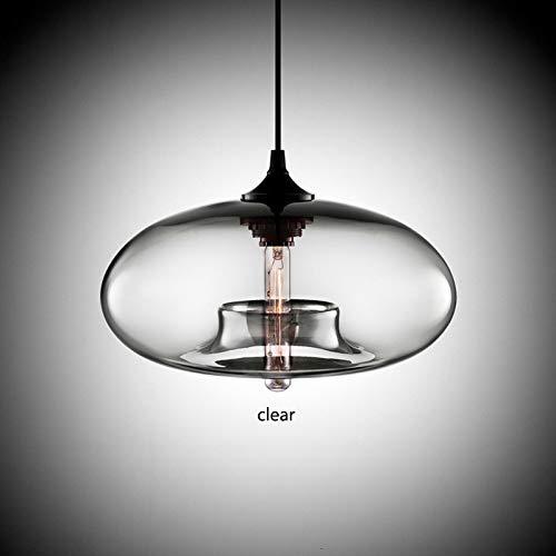 MZSG Hängende Loft Glas Pendelleuchte, Industrielle Dekor Leuchten, Lichtquelle E27 E26, für Küche Restaurant Hängelampe,Clear