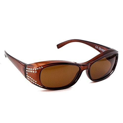Figuretta Überbrille | Sonnenbrille mit Straßbesatz UV 400 Polarisiert für Brillenträger Polbrille (braun)
