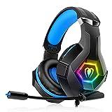 Cuffie da gioco per PS4 PS5 PC Xbox One, Cuffie PS4 con microfono, 3D Surround Sound, cancellazione del rumore, LED RGB