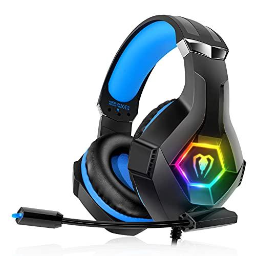 decoche Headset für PS4 PS5 PC Xbox One, PS4 Headset mit Mikrofon 3D Surround Sound Kopfhörer Noise Cancelling RGB LED Lichter GM-6 Black M