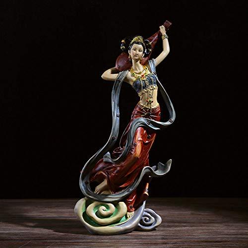 FENGJIAREN Estatuas,Estatuillas,Esculturas,Flying Rojo Figurillas De Carácter Modelo Dama Home Salón Armario Bodega Regalos De Boda Decoración De Estilo Chino Resina Artesanía Creativa