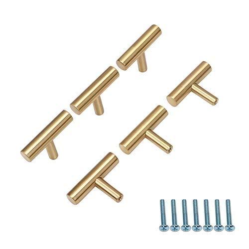 6 pomelli in ottone per armadio/guardaroba, con foro singolo, color oro, per la decorazione della casa, 50 mm, lunghezza complessiva