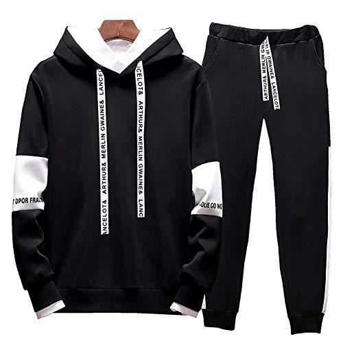 LeerKing Trainingsanzug Pullover und Hose Sweatshirt mit Kapuze Hoodie Polyesteranzug für Herren und Jungen Jogginganzug Jogginghose Schwarz M