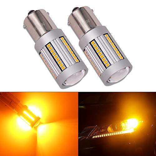 HSUN BA15S P21W 1156 Bombillas LED, sistema de Canbus integrado sin errores con chipsets SMD2016 de 66 LED, extremadamente brillantes, para luz de giro de coche, 2 unidades, ámbar/naranja
