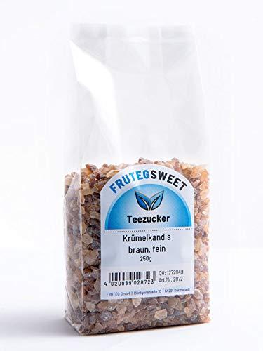 FRUTEG Krümelkandis braun fein I 5x 250g kleine braune Kluntjes – im Folien-Beutel I brauner Kandis-Tee-Zucker – Kandis…