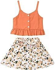 Conjunto de Ropa 2PC de Verano para Niñas Bebés Camiseta Finos Tirantes con Volantes Falda con Cordones Florales y Estampados de Rosas Trajes Casuales para Pequeñas