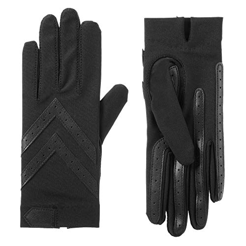 isotoner womens Spandex Shortie With Leather Palm Strips Cold Weather Gloves, Smartdri Black, Small Medium US