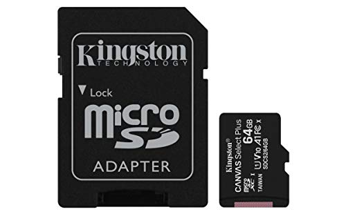Kingston Canvas Select Plus Carte MIcro SD SDCS2/64GB Class 10 + Adaptateur inclus