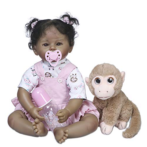 Zero Pam Realistic Black Reborn Baby Doll Girl Looking Like Real Child Newborn Toddler Dolls with Lovely Monkey Toys Best Birthday Xmas Gift for Kids 3+