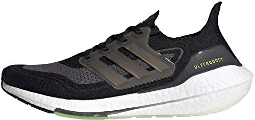 adidas Ultraboost 21, Zapatillas de Running Hombre, Core Black Silver Met Solar Yellow, 43 1/3 EU