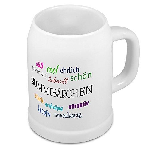 Bierkrug mit Namen Gummibärchen - Motiv Positive Eigenschaften - Namenstasse, Becher, Maßkrug, Humpen