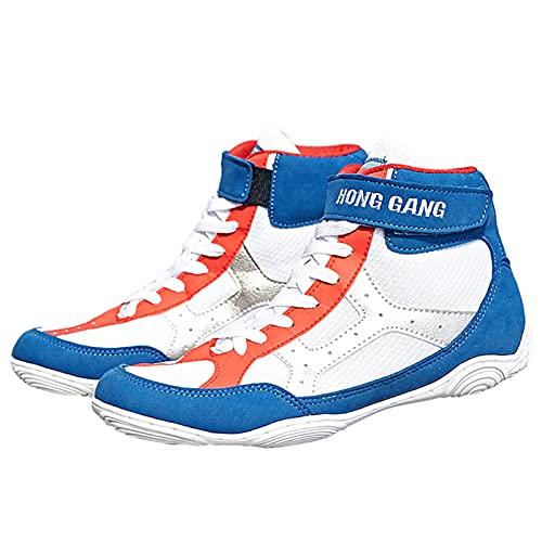 Willsky Zapatos De Boxeo Para Hombres Que Luchan Con Entrenadores De Gimnasios Ligero Transpirable Antideslizador Antideorreado En Cuclillas De Deporte De Aptitud,Azul,40EU