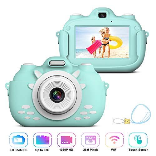 Kinder Videokamera Rekorder, Stoßfeste Wiederaufladbare Selfie Kamera mit 32GB SD Karte, 3 Inch HD Touchscreen Digitalkamera, Kinderkamera für Jungen Mädchen Geschenke Kinder Digitalkamera