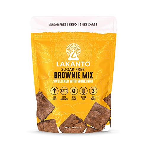 Lakanto Sugar Free Brownie Mix, Keto Brownie Mix, High Fiber, Low Carb, Zero Sugar, Gluten Free, Sweetened with Monk Fruit (16 Servings)
