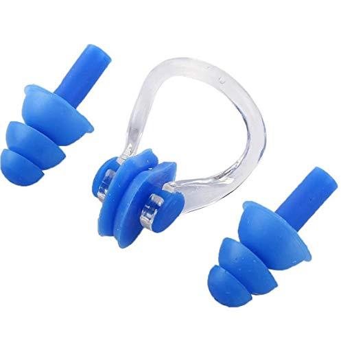 Tapones de natación pinzas nasales cómodo suave de silicona Accesorios de natación para nadadores con experiencia Amateur azul 3PCS, tapones para los oídos para nadar