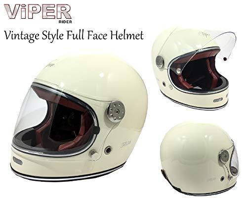 Casco de moto VIPER F656 VINTAGE de Fibra de Vidrio para Adultos Crema