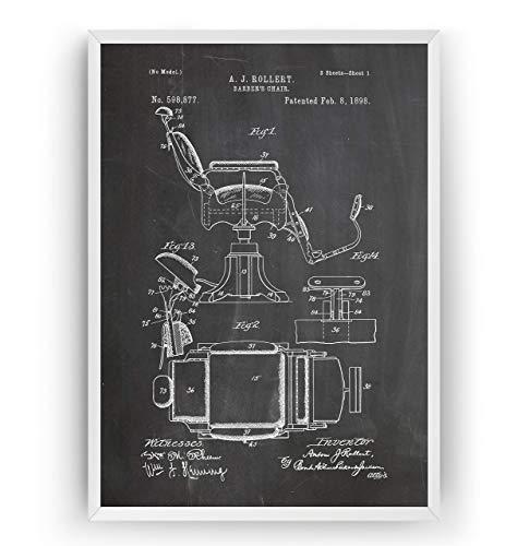 Silla de Barberos 1898 Patent Poster de Patente - Patent Póster Con Diseños Patentes Barbers Chair Decoracion de Hogar Inventos Carteles Prints Wall Art Posters Decor - Marco No Incluido