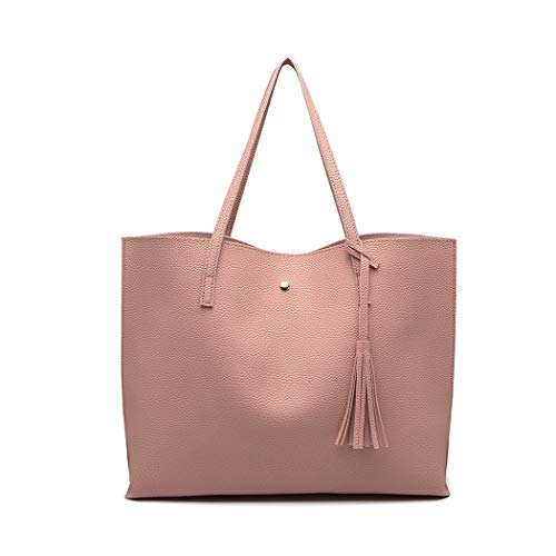 Miss Lulu Women Tote Bags Top Handle Handbags Soft PU Leather Tassel Shoulder Purse Big Capacity for Work School Travel Pink