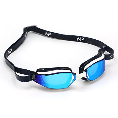 MP Michael Phelps Unisex– Erwachsene XCEED Schwimmbrille Titanium Gläser Weiß/Blau, One Size