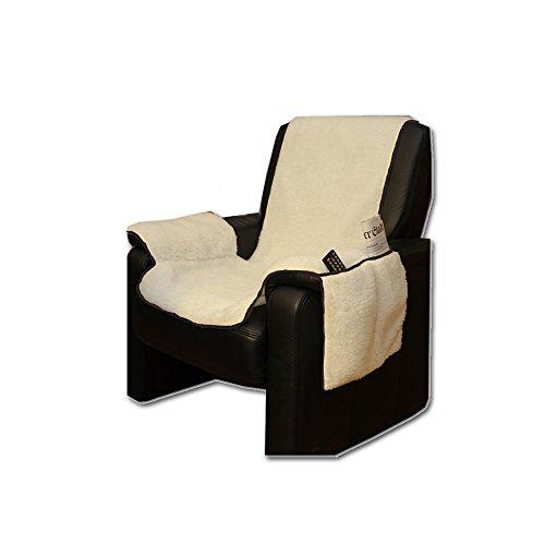 JEMIDI Sesselschoner mit Seitentaschen Lammflor Sesselschoner Sesselauflage Überwurf Sesselüberwurf Sesselbezug Polster Sofaüberwurf Sesselschützer Sesselbezug Schonbezug (Natur)