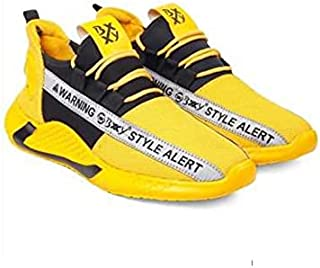 KT Traders Solid Reguler Mesh Lace-Up On Style for Easy Sport Shoes (KT Traders-79-Yellow-10)