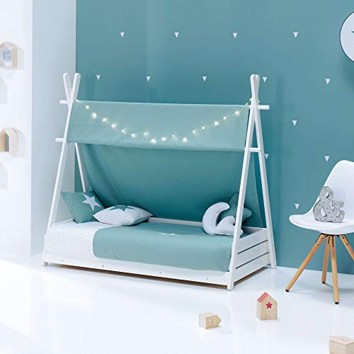 ALONDRA – Camita cabaña HOMY Montessori infantil para niños 70x140 completa con textiles. Incluye: toldo, nórdico, estructura casita tipi con somier, textiles Verde Mare 181, sin colchón.