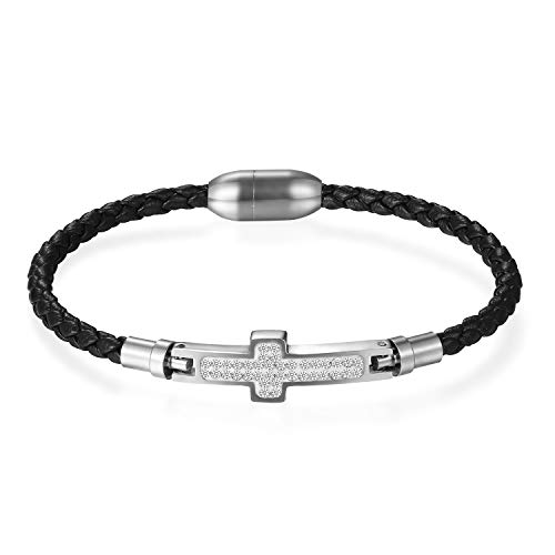 Flongo Lederarmband Männer Armreif Damen Armband, Edelstahl Leder Armband Armreifen Strass Kreuz mit Magnet Schließe Schwarz Silber