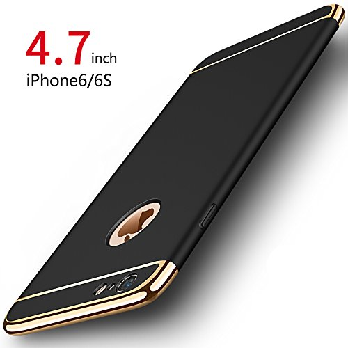 PRO-ELEC Cover iPhone 6/6s, Custodia iPhone 6/6s con [Vetro Temperato Protezione Schermo] Ultra Sottile Anti-graffio Resistente Custodia Cover per iPhone 6/6s (4.7 Pollici) - Nero