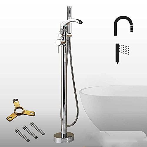 KUELXV Ducha de mano Grifo de bañera de cascada de bronce negro, monomando, mezclador de bañera independiente, juego de ducha de baño montado en el suelo con ducha de mano, cromo A