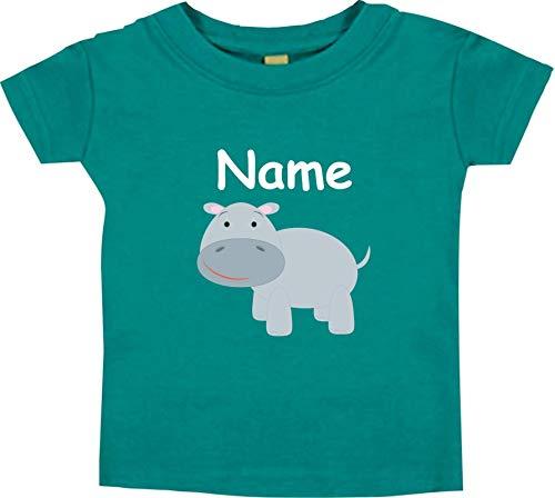 Shirtinstyle Bébé Haut, Hippopotame Hippopotame Animal Motifs Nom Souhaité - Jade, 18-24 Monate