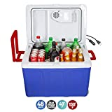 K-Box Electric Cooler and Warmer with Wheels for Car and Home - 48 Quart (45 Liter) - 6 FT. Extra Long Cables Dual 110V AC House and 12V DC Vehicle Plugs, American (Blue White Red)