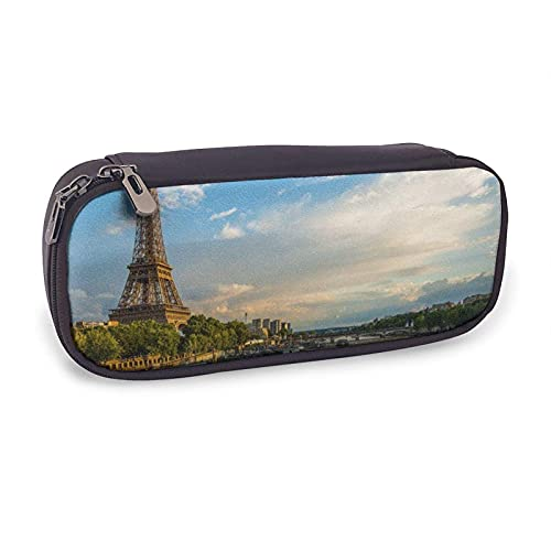 Pencil Case Sonnenuntergang über Eiffelturm und Seine River Paris Multifunction Bag with Holder Stationery Organizer for School & Office Ladies