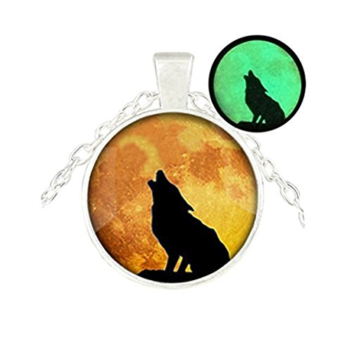Collar de lobo con colgante de luna que brilla en la oscuridad, colgante de luna, collar de animales