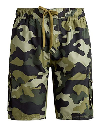 Kanu Surf Men's Barracuda Swim Trunks (Regular & Extended Sizes), Camo Army Green, Large