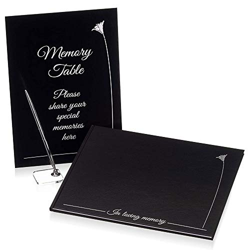 Funeral Guest Book with Signing Pen and Memory Table Card | pu Leather Hard Cover with White Lily Embossed Silver Design | Made in The Netherlands | Memorial Guest Book | in Loving Memory Guest Book