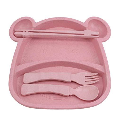 Assiette portable Cuillère Baguette Spoon Baby Kid Set Vaisselle Set Nouveau Plateau De Bande Dessinée Paille De Blé Platos Vaisselle De Table Pour Enfants 4Pcs / Set, rose