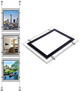 A4 Portrait 8.5X11 Inch Crystal Poster Frame Real Estate Agent Led Window Hanging Display Light Box Sign (3pcs A4 a Row, Vertically)