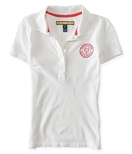 AEROPOSTALE Womens Chest Logo Polo Shirt, White, X-Small